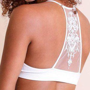 White Tattoo Mesh Racerback Bralette